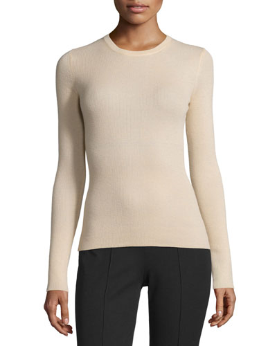 Long-Sleeve Cashmere Sweater, Nude