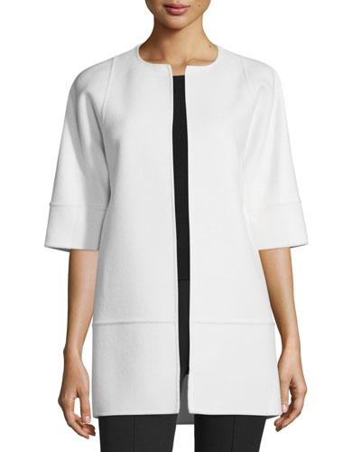 Half-Sleeve Long Cookie Jacket, Ivory