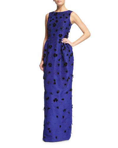 Velvet-Appliqué Column Gown, Ultra Marine/Black