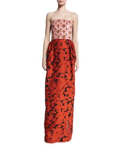 Strapless Sequined-Bodice Column Gown, Guava/Multi