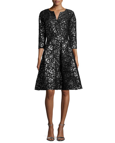 3/4-Sleeve Metallic-Print Cocktail Dress, Black