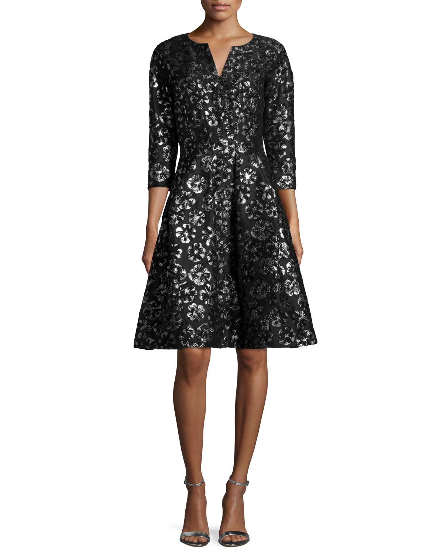 3/4-Sleeve Metallic-Print Cocktail Dress, Black
