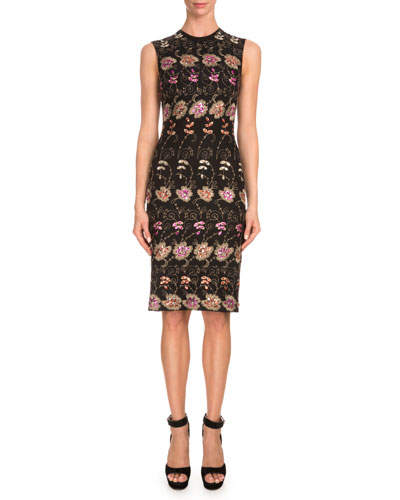 Sleeveless Floral-Embroidered Sheath Dress, Black