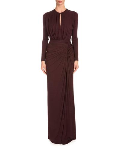 Long-Sleeve Draped Keyhole Gown, Burgundy