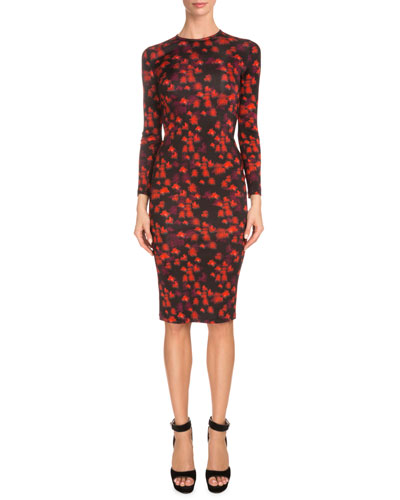 Long-Sleeve Floral-Print Sheath Dress, Red