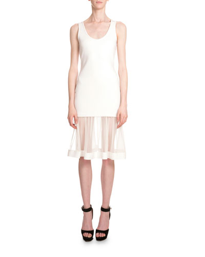 Scoop-Neck Sheer-Inset Tank Dress, White