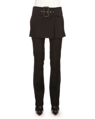 Skirted Pants with Self Belt, Black