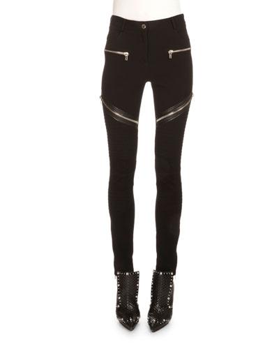 Asymmetric Zip-Detail Moto Leggings, Black