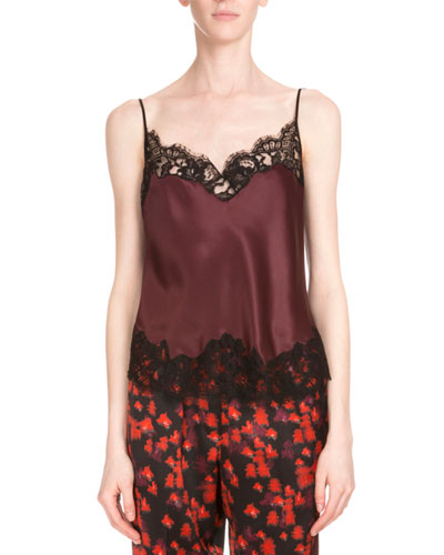 Lace-Trim Two-Tone Camisole, Burgundy