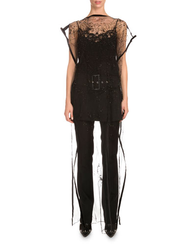 Bateau-Neck Embroidered Long Tunic, Black