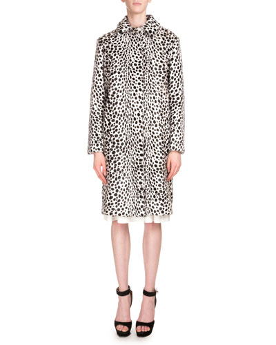 Dot-Print Fur Coat, White/Black
