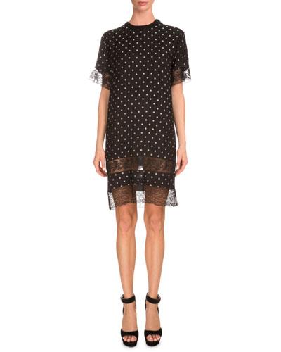 Star-Print Lace-Inset Shift Dress, Black