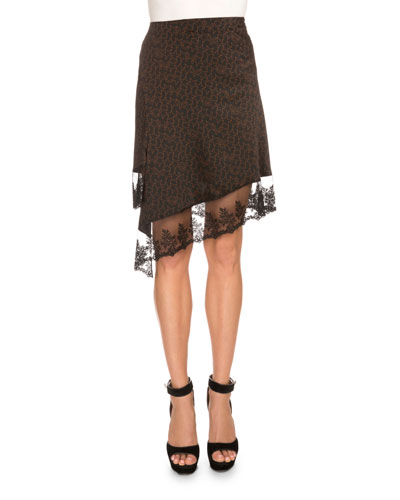 Star-Print Asymmetric Lace-Hem Skirt, Black