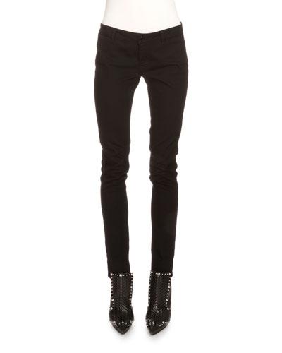 Low-Rise Skinny Jeans W/Rear Stars, Black/Red