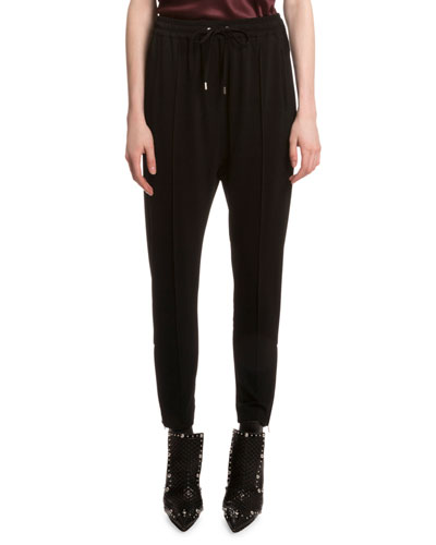 Drawstring-Waist Jogger Pants, Black