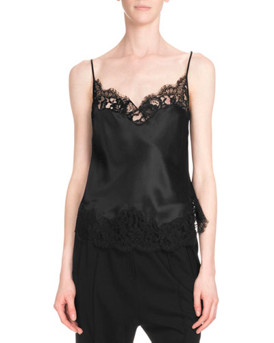 Lace-Trim Camisole, Black