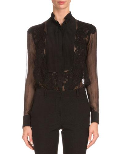 Tuxedo-Front Lace-Detail Blouse, Black