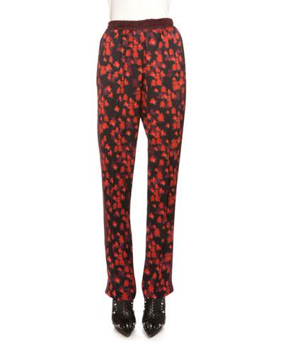 Floral-Print Pajama Pants, Red