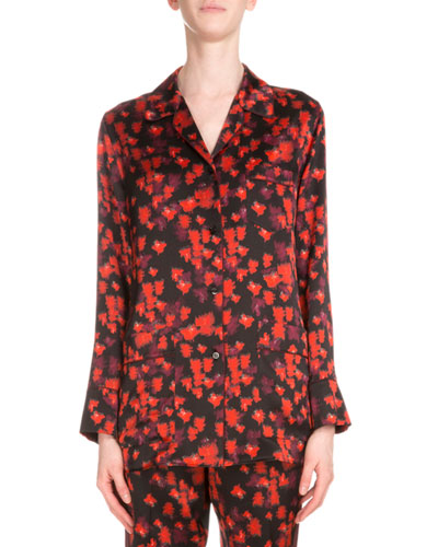Button-Front Floral-Print Pajama Top, Red