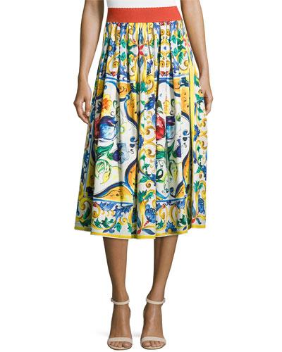 Maiolica Tile-Print A-Line Skirt, White/Blue/Yellow