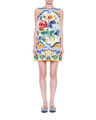 Sleeveless Maiolica Floral-Print Shift Dress, White/Blue/Yellow