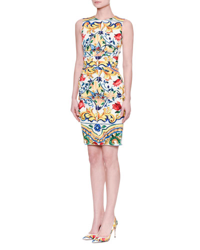 Maiolica Tile-Print Ruched-Waist Dress, White/Blue/Yellow