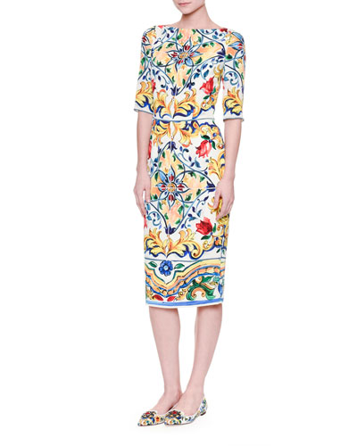 Half-Sleeve Maiolica-Print Sheath Dress, White/Blue/Yellow