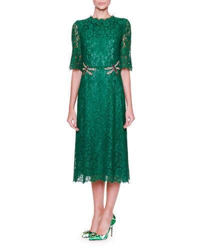 Dragonfly-Embellished Lace Midi Dress, Light Musk Green