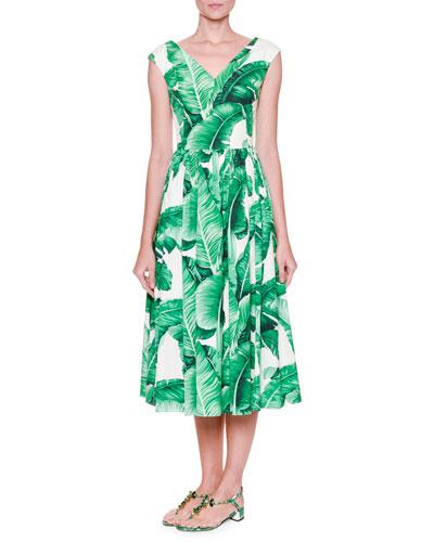 Cap-Sleeve Banana Leaf-Print Midi Dress, White/Green
