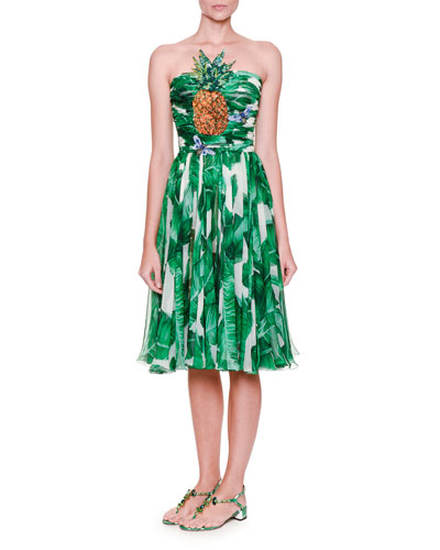 Embellished Strapless Printed Dress, White/Green