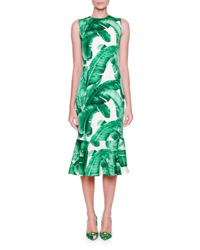 Sleeveless Banana Leaf-Print Midi Dress, White/Green