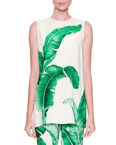 Sleeveless Banana Leaf-Print Tunic Blouse, White/Green
