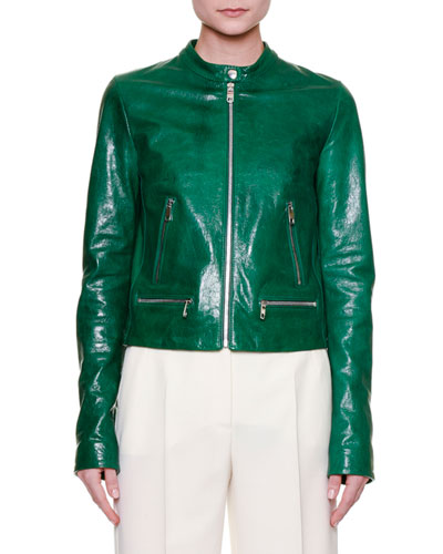 Zip-Front Leather Jacket with Banana Leaf Lining, Dark Green