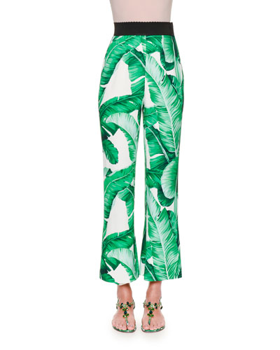 High-Waist Banana Leaf-Print Cropped Pants, White/Green