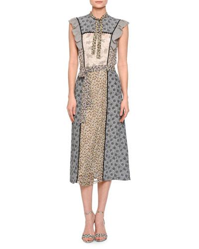 Floral-Print Ruffle-Trim Midi Dress, Ecru/Multi