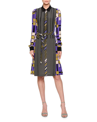 Long-Sleeve Mixed-Print Shirtdress, Lavender/Black