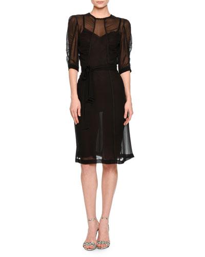 Half-Sleeve Shirred-Bodice Dress, Black