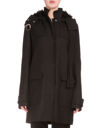 Snap-Front Long Coat W/Removable Hood, Black