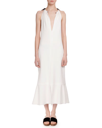 Sleeveless Tie-Back Trumpet Midi Dress, Off White