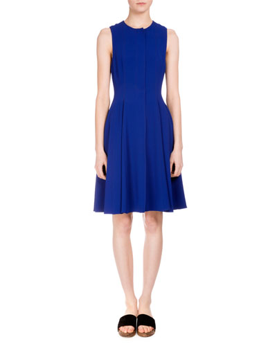 Sleeveless Inverted-Pleat Dress, Cobalt