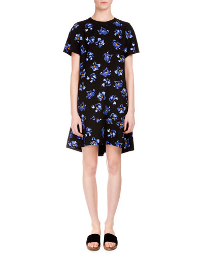 Short-Sleeve Floral-Print Dress, Black/Cobalt Flower