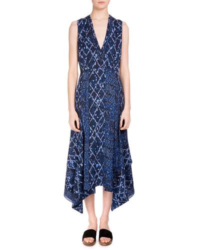 Sleeveless Marrakech-Print Midi Dress, Cobalt/Lavender Marrakech