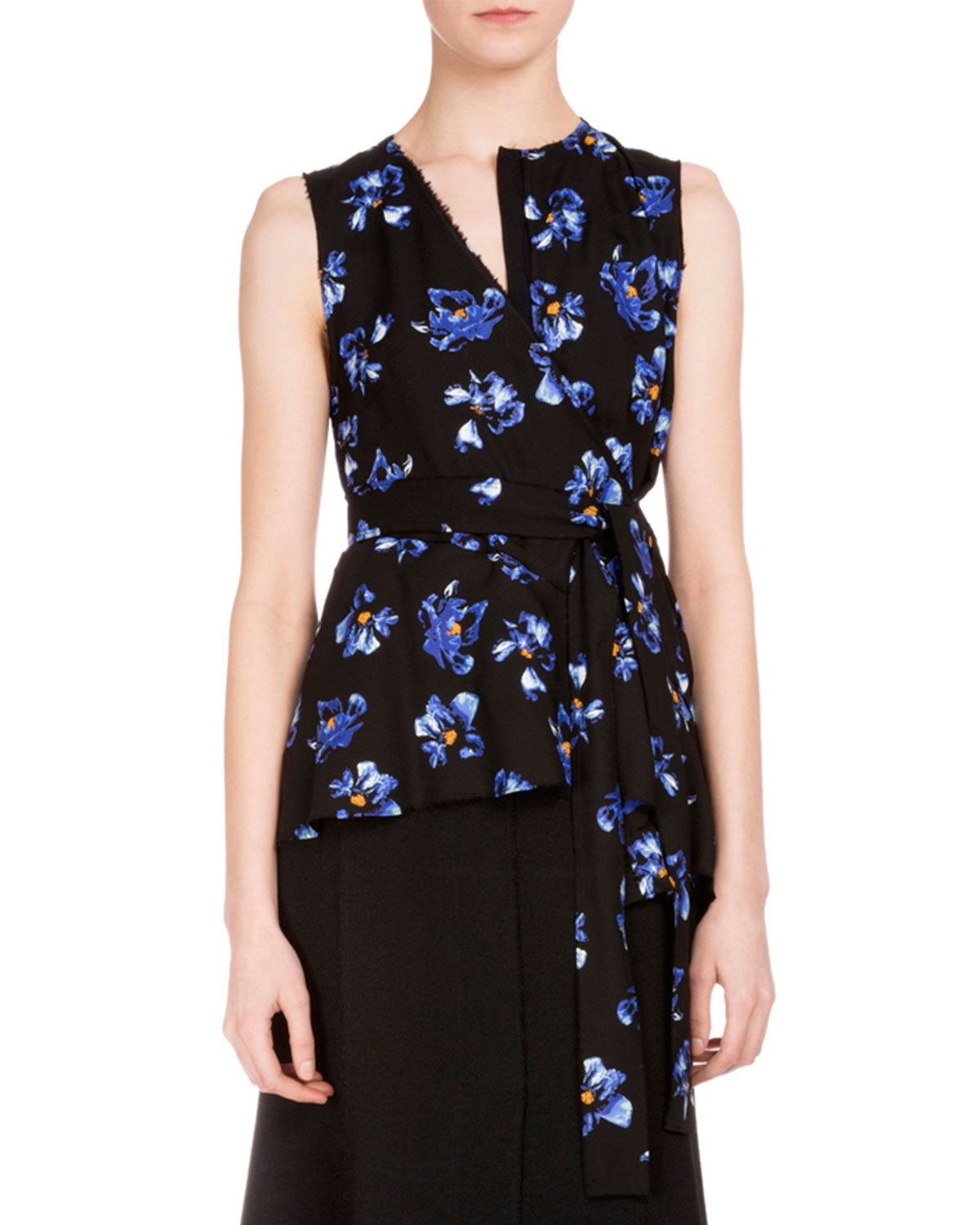 Sleeveless Floral-Print Wrap Blouse, Black/Cobalt Flower