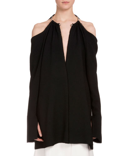 Embellished-Neck Cold-Shoulder Tunic, Black