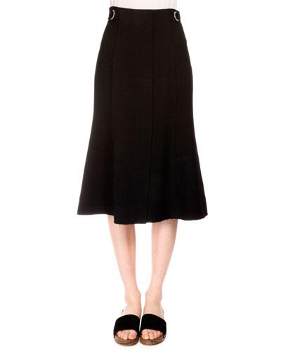 High-Waist Trumpet Skirt, Black