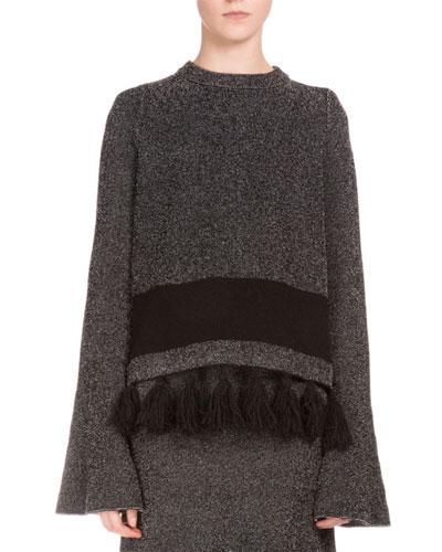 Long-Sleeve Fringe-Hem Sweater, Black/Combo