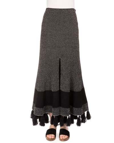 High-Waist Fringe-Hem Midi Skirt, Black/Combo