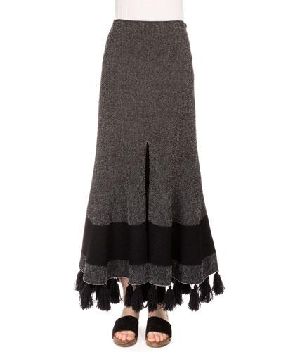 High-Waist Fringe-Hem Midi Skirt, Black/Combo