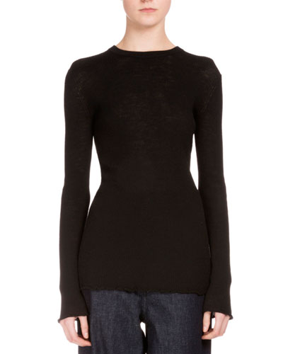 Long-Sleeve Ribbed Layering Tunic, Black