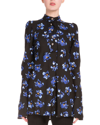 Button-Front Floral-Print Tunic, Black/Cobalt Flower